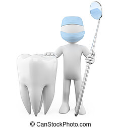 Dentist with a tooth and a mouth mirror. Rendered on a white background with diffuse shadows.