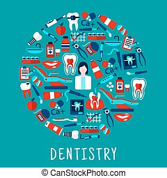 Dentist with dentistry icons round symbol