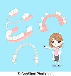 dentist with denture