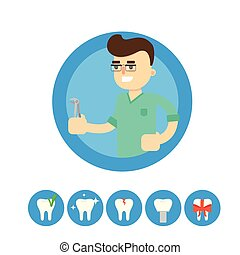 Dentist with tooth, vector illustration