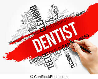 Dentist word cloud collage, health concept