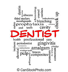 Dentist Word Cloud Concept in red caps with great terms such as cavity, care, teeth and more.