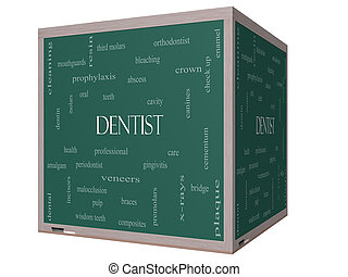 Dentist Word Cloud Concept on a 3D cube Blackboard