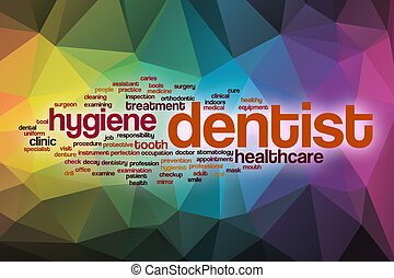Dentist word cloud with abstract background
