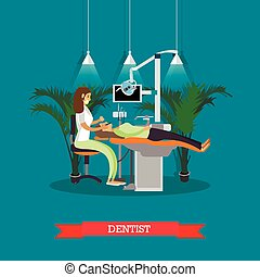 Dentist works with patient vector poster. Dental clinic concept