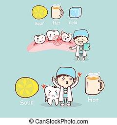 dentista, con, sensibile, dente
