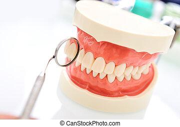 dentista, dentes, exame, série, de, relatado, fotografias
