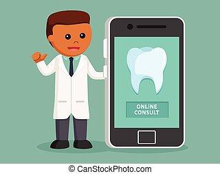 dentista, hombre, en línea, africano, consultar