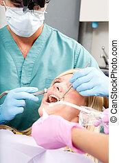 dentista, perforación, diente