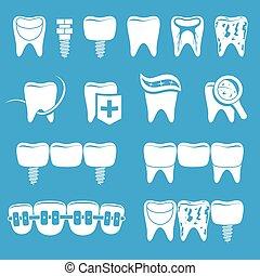 dentista, set, icone
