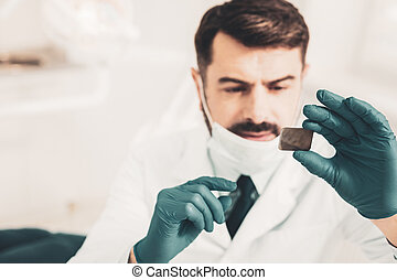 dentista, tenencia, radiografía, de, diente