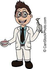 dentista, vettore, cartone animato, illustrazione
