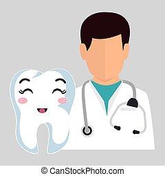 dentiste, avatar, homme