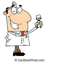 dentiste, caucasien, dessin animé, homme
