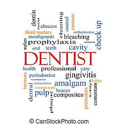 dentiste, concept, mot, nuage