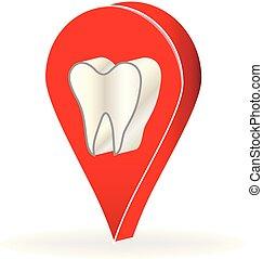 dentiste, dent, business, emplacement, vecteur, icône