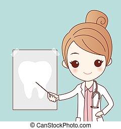 dentiste, dent, dessin animé, rayon