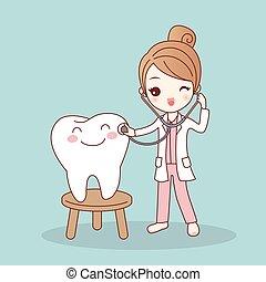 dentiste, docteur, dessin animé, dent