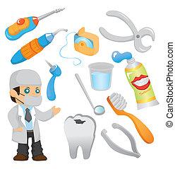 dentiste, ensemble, outillage, icône, dessin animé