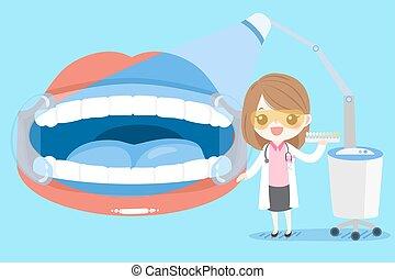 dentiste, femme, dent