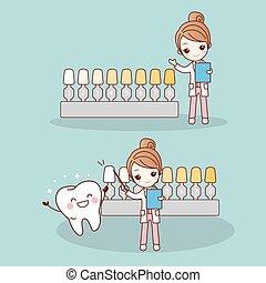 dentiste, heureux, dessin animé, dent