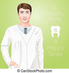 dentiste, homme, jeune docteur