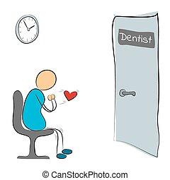 dentiste, homme, porte, séance