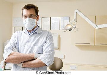 dentiste, masque, salle, examen