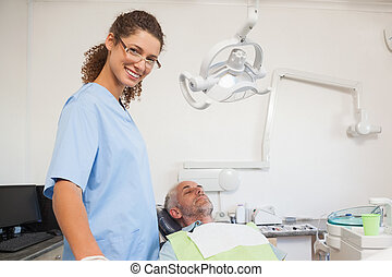 dentiste, sourire, appareil photo, chaise, patient