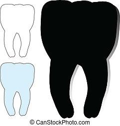 dentiste, vecteur, silhouettes