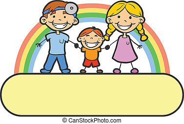 Dentistr - Dentist baby and mother are holding hands. There...