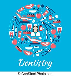 Dentistry abstract symbol with medical flat icons