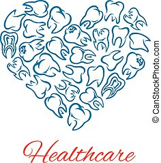Dentistry and dental healthcare heart shape poster - Heart...