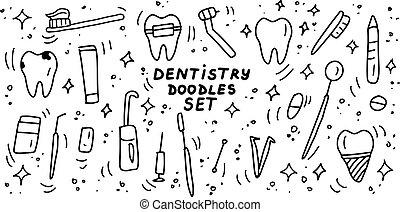 Dentistry doodles icon set. Hand drawn lines stomatology, dental, odontology cartoon collection. Teeth, dentures, orthodontic, dental instruments. Vector illustration.
