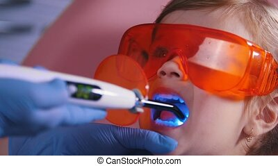 Dentistry, medicine. Dentist working with the dental curing...