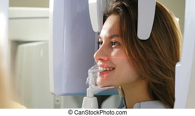 dentistry., moderne, face., procédure, mashine, panoramique...