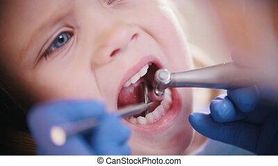 Dentistry. Reception at the dentist. Female dentist...
