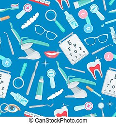 Dentistry seamless pattern of dental care items