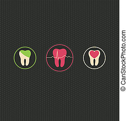 Dentistry symbols, dark dots background