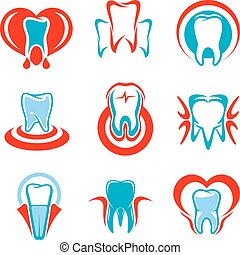 Dentistry tooth vector icons set - Dentistry emblems set of...