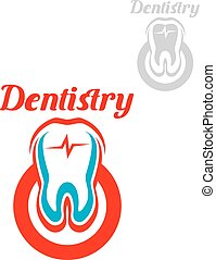 Dentistry vector icon or emblem of tooth symbol - Dentistry...