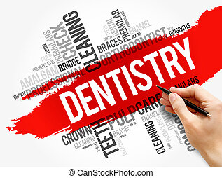 Dentistry word cloud collage, health concept
