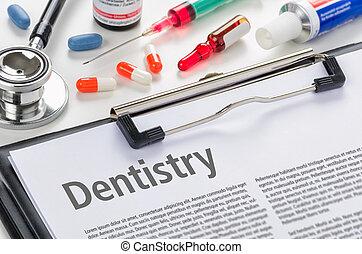 Dentistry written on a clipboard