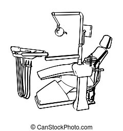 Dentist's chair - Dentist's drill chair engraving sketch....