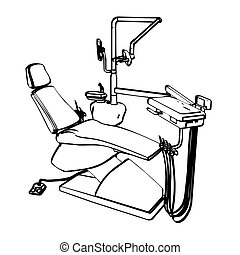 Dentist's chair - Dentist's drill chair engraving sketch. ...