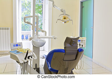 dentist's chair in examination room