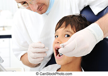 Dentist's teeth checkup, series of related photos