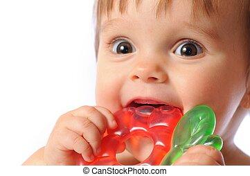 dentizione, mano, teether, morsi, giocattolo, bambino, prese, poco