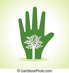 dentro, árbol, mano