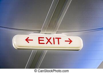 dentro, aereo, uscita, segnale emergenza